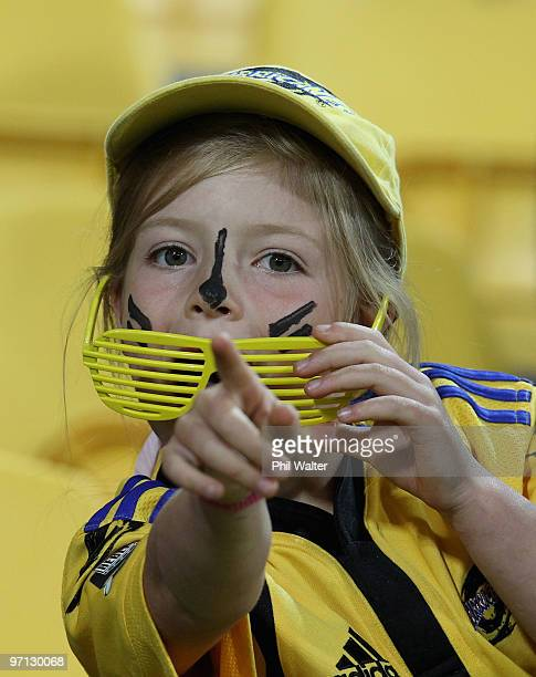 Hurricanes fan in the stands during the round three Super 14 match between the Hurricanes and the Lions at Westpac Stadium on February 27 2010 in...