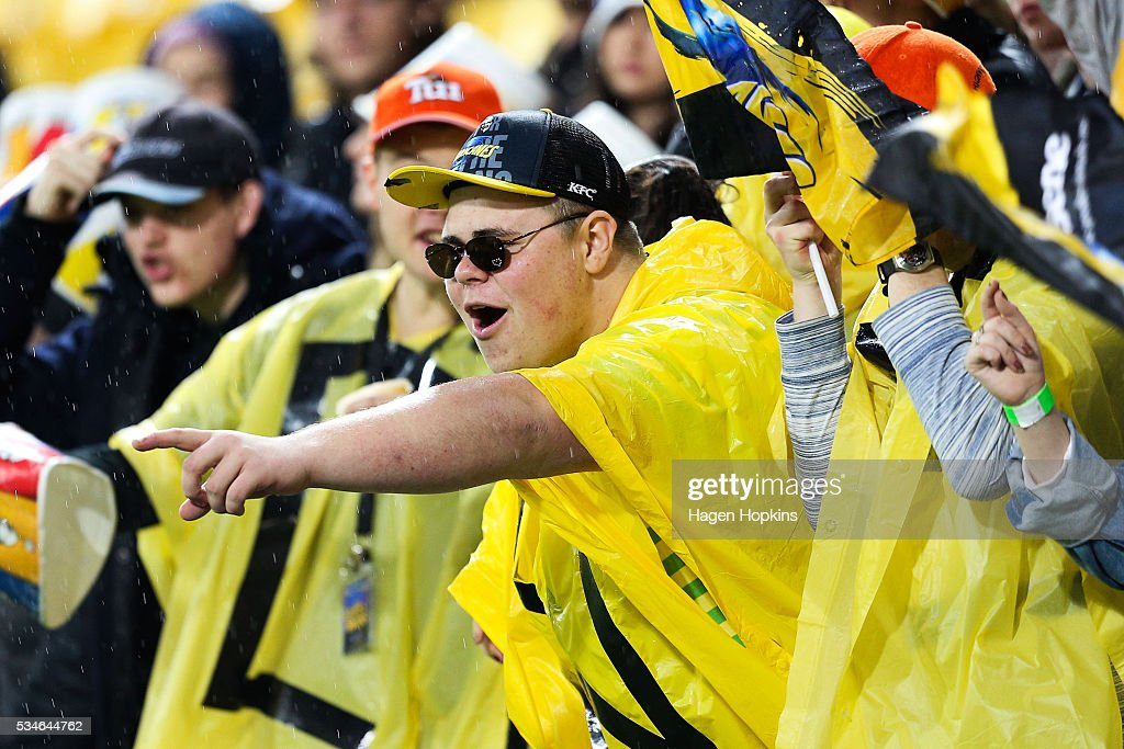 A Hurricanes fan shows his support during the round 14 Super Rugby match between the Hurricanes and the Highlanders at Westpac Stadium on May 27, 2016 in Wellington, New Zealand.