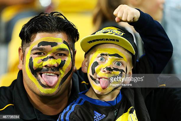Hurricanes fans look on during the round seven Super Rugby match between the Hurricanes and the Rebels at Westpac Stadium on March 27 2015 in...