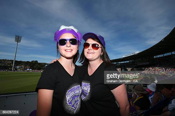 Hurricanes fans show their support during the Big Bash League match between the Hobart Hurricanes and the Perth Scorchers at Blundstone Arena on...