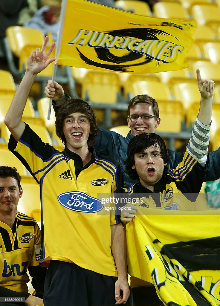 Hurricanes fans show their support during the round eight Super Rugby match between the Hurricanes and the Waratahs at Westpac Stadium on April 6, 2013 in Wellington, New Zealand.