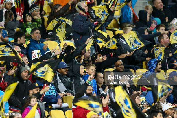 Hurricanes fans show their support during the round four Super Rugby match between the Hurricanes and the Highlanders at Westpac Stadium on March 18...
