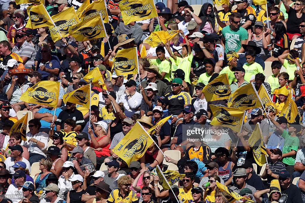 Hurricanes fans show their support during the Super Rugby trial match between the Hurricanes and the Chiefs at Mangatainoka RFC on February 16, 2013 in Mangatainoka, New Zealand.
