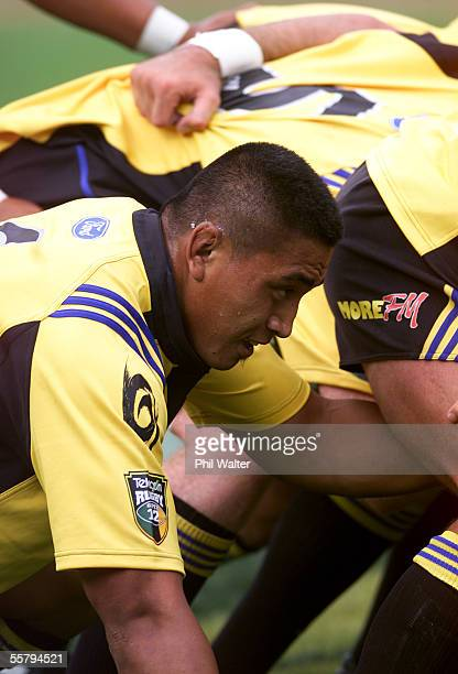 Hurricanes Jerry Collins in the scrum in their Super 12 Rugby match played against the Bulls at the WestpacTrust Stadium in Wellington Saturday