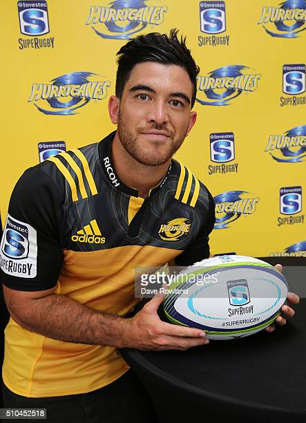 Hurricanes Nehe MilnerSkudder during the 2016 New Zealand Super Rugby Launch on February 16 2016 in Auckland New Zealand
