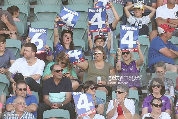 Hurricanes WBBL fans in the crowd show their support during the Women's Big Bash League match between the Sydney Thunder and the Hobart Hurricanes at...