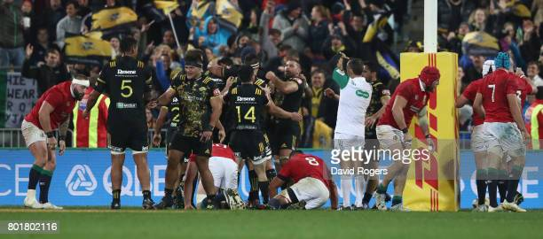 Hurricans celebrate after Vaea Fifita scores a late try during the match between the Hurricans and the British Irish Lions at Westpac Stadium on June...