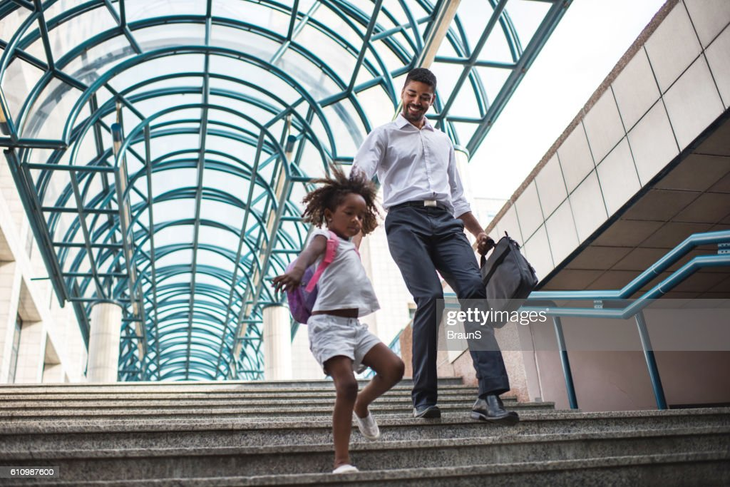 Hurry up daddy! : Stock Photo
