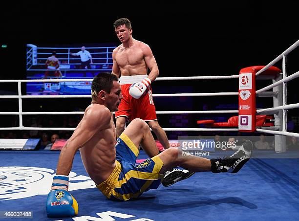 Hurshidbek Normatov of Uzbekistan and Ukraine Otamans stumbles during his Middleweight bout with Anthony Fowler of England and British Lionhearts...