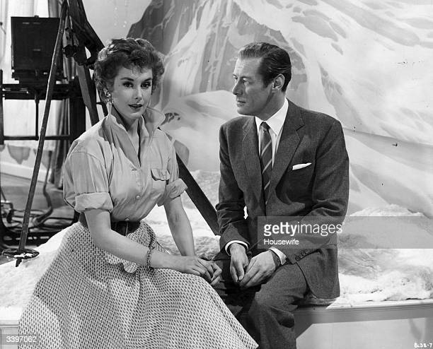 Husband and wife acting couple Rex Harrison and Kay Kendall on the set of the film 'The Constant Husband' directed by Sidney Gilliat for London Films