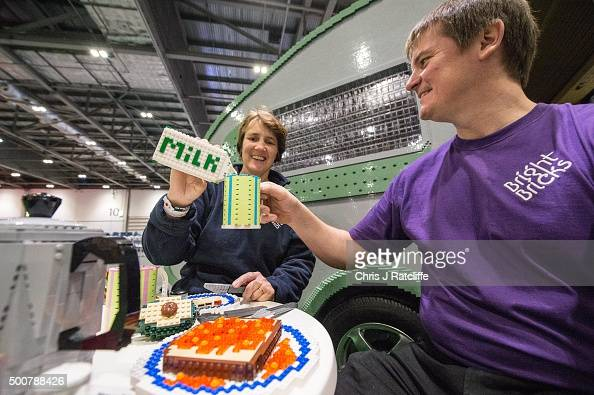 Husband and wife Annie Diment and Ed Diment enjoy a Lego lunch outside the caravan they built entirely from Lego with 215158 bricks over 1000 hours...
