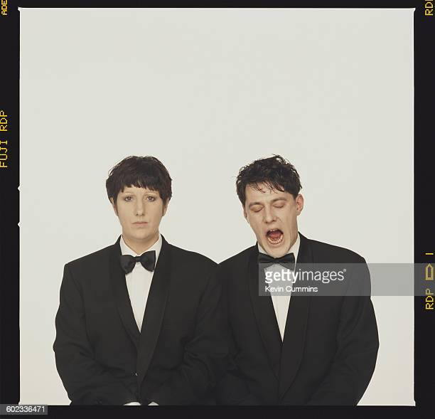 Husband and wife Gillian Gilbert and Stephen Morris of rock group New Order 2000 They are posing in imitation of the cover of the Pet Shop Boys album...