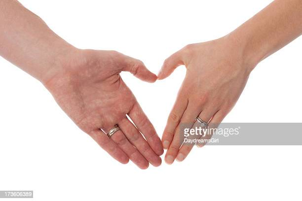 Husband and Wife Hands in Heart Shape Isolated on White