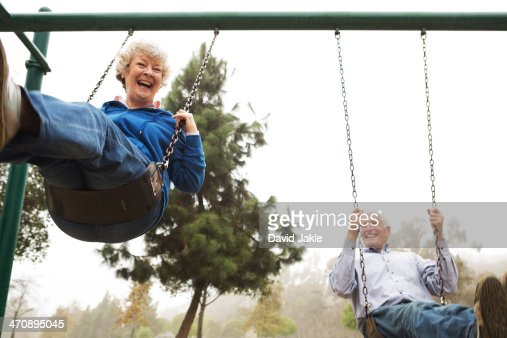 Husband and wife on swing
