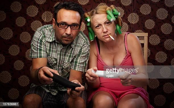 Marito e moglie riproduzione di video giochi