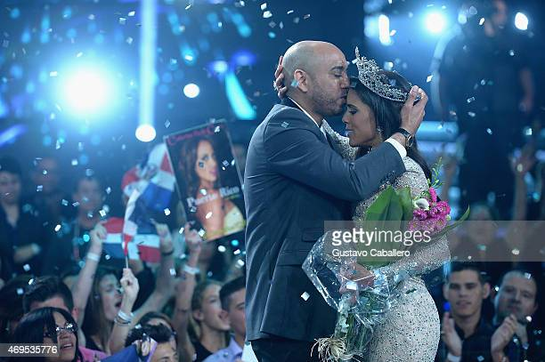 Husband Rocky Lachapel kisses newly crowned queen and wife Francisca Lachapel during the Nuestra Belleza Latina Grand Finale on April 12 2015 in...