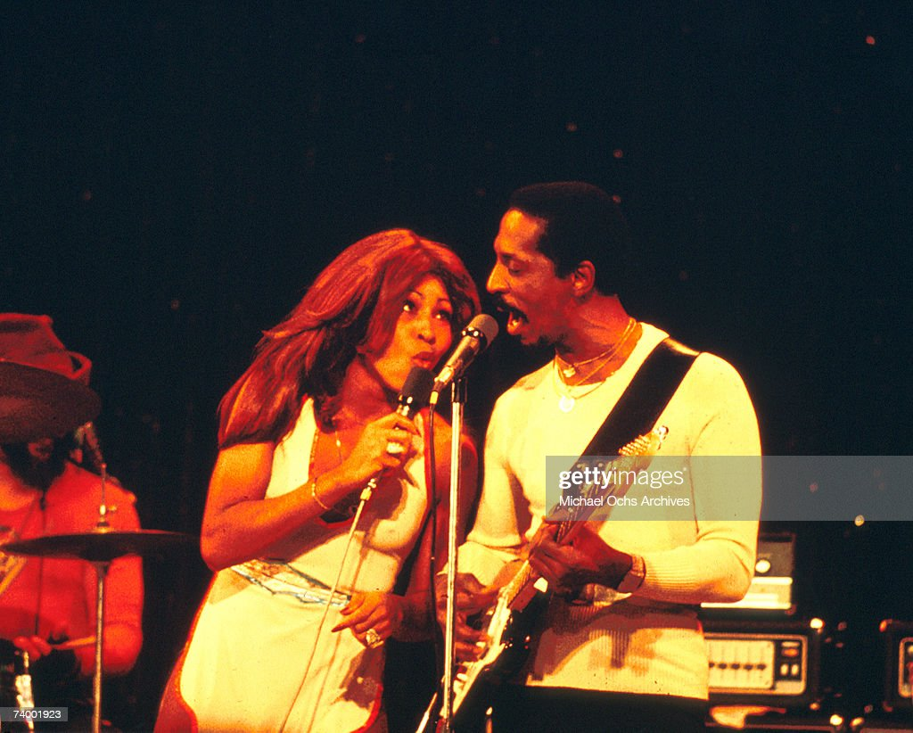 Husband-and-wife R&B duo Ike & Tina Turner perform onstage in circa 1974 in Los Angeles, California.