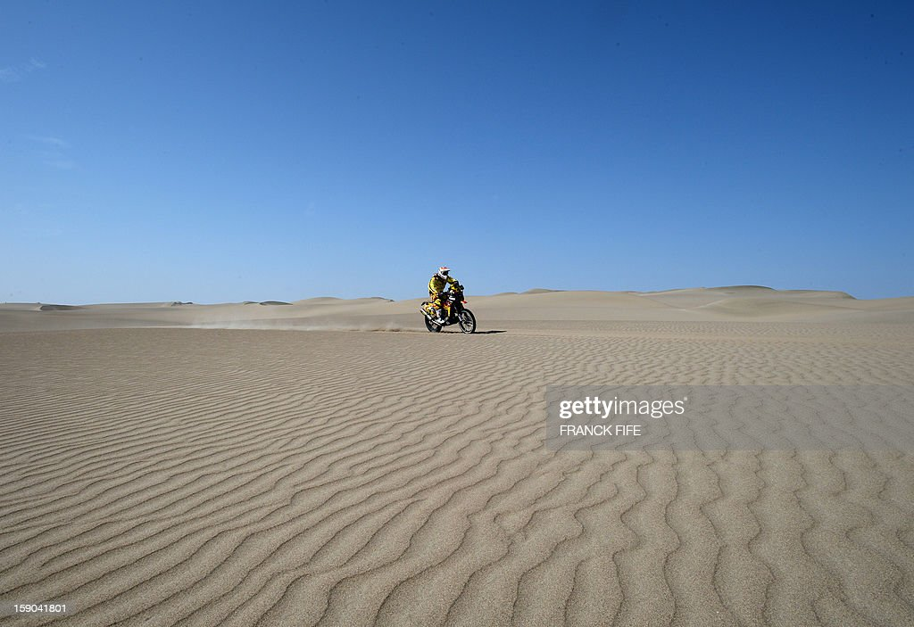 Husqvarna biker Jordi Villadoms of Spain competes during the Stage 2 of the Dakar 2013 in Pisco, Peru, on January 6, 2013. The rally will take place in Peru, Argentina and Chile from January 5 to 20.