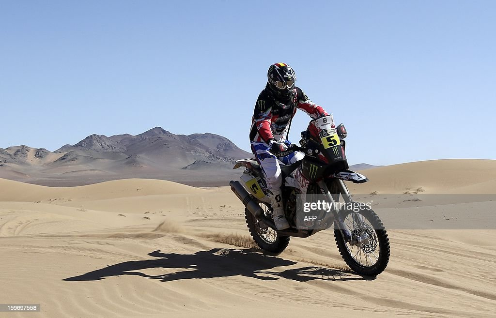 Husqvarna's Joan Barreda Bort of Spain competes in the Stage 13 of the 2013 Dakar Rally between Copiapo and La Serena, in Chile, on January 18, 2013. The rally is taking place in Peru, Argentina and Chile from January 5 to 20.
