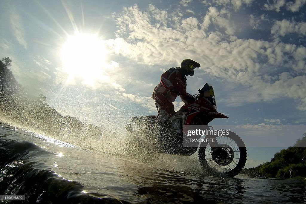 Husqvarna's rider Helder Rodrigues of Portugal competes during the Stage 10 of the Dakar 2013 between Cordoba and La Rioja, Argentina, on January 15, 2013. The rally takes place in Peru, Argentina and Chile between January 5 and 20.
