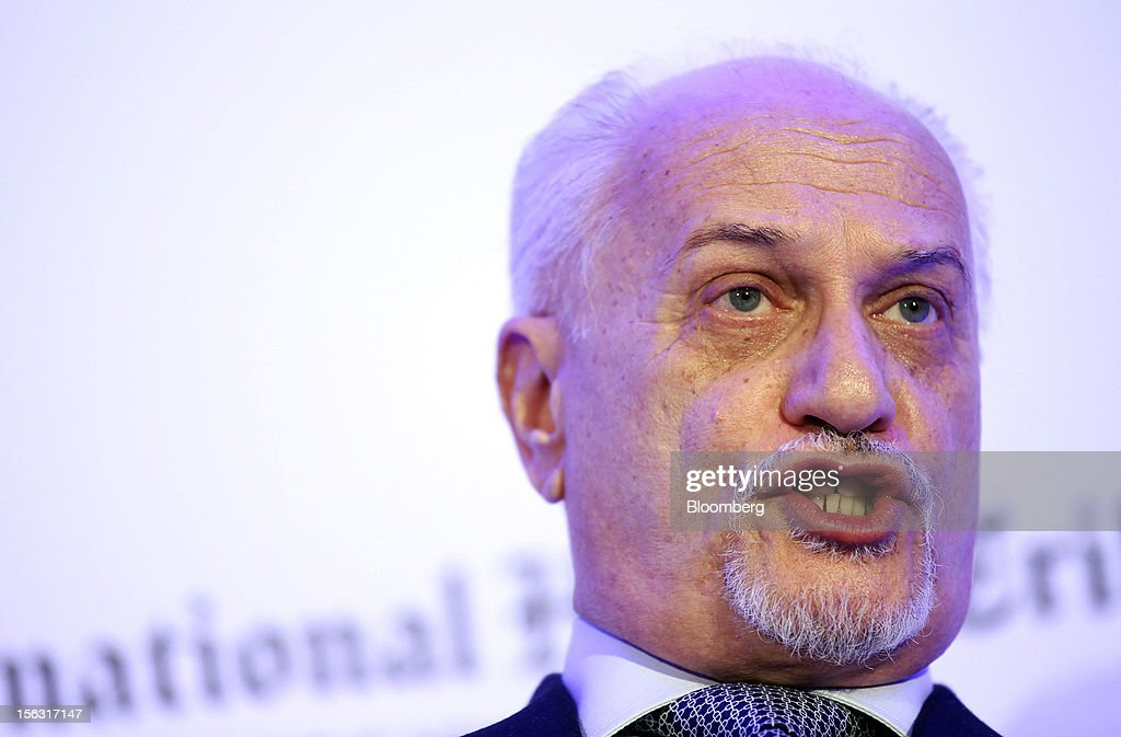 Hussain al-Shahristani, Iraq's deputy prime minister for energy affairs, speaks during the Oil & Money conference at the InterContinental Hotel in London, U.K., on Tuesday, Nov. 13, 2012. The global oil market is well supplied and inventories are high, according to Abdalla El-Badri, secretary-general of the Organization of Petroleum Exporting Countries. Photographer: Chris Ratcliffe/Bloomberg via Getty Images