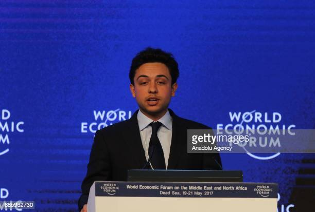 Hussein bin Abdullah Crown Prince of Jordan delivers a speech during the World Economic Forum regional meeting in Amman Jordan on May 20 2017