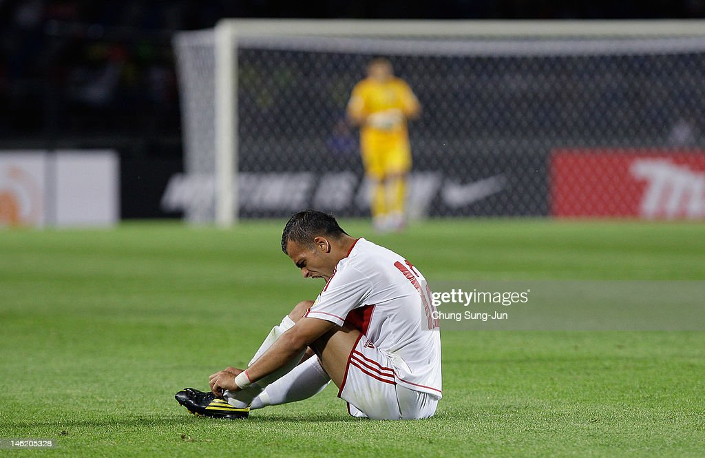Hussein Dakik of Lebanon reacts during the FIFA World Cup Asian Qualifier match between South Korea and Lebanon at Goyang Stadium on June 12, 2012 in Goyang, South Korea.