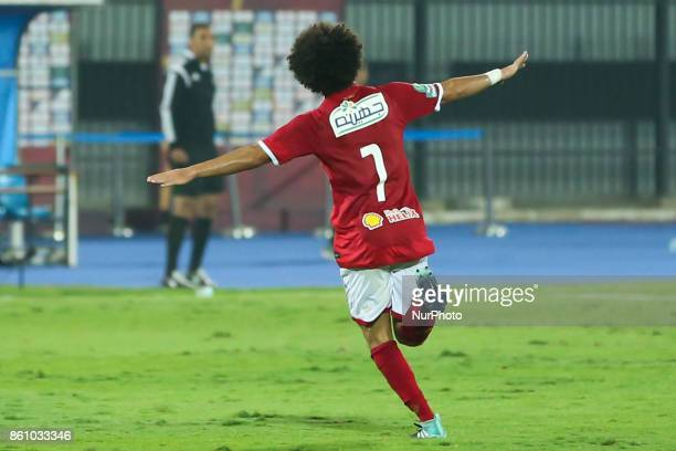 Hussein Sayed of AlAhly Sporting Club celebrates a score during the Egypt Premier League match between AlAhly Sporting Club and Ittehad at AlSalam...