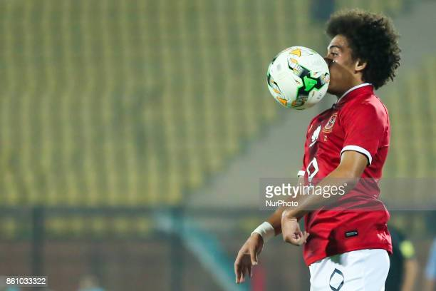 Hussein Sayed of AlAhly Sporting Club controls the ball during the Egypt Premier League match between AlAhly Sporting Club and Ittehad at AlSalam...