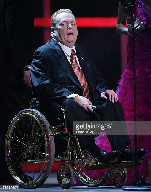 Hustler magazine publisher Larry Flynt accepts an award during the 25th annual Adult Video News Awards Show at the Mandalay Bay Events Center January...