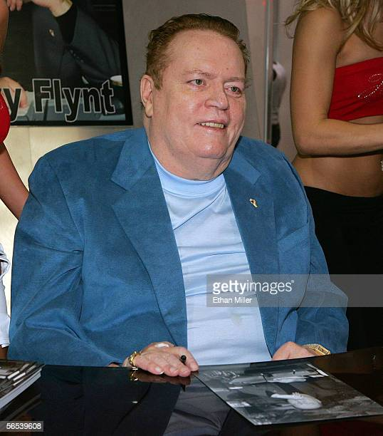 Hustler magazine publisher Larry Flynt is seen during an autograph session at the Adult Video News Adult Entertainment Expo at the Sands Expo Center...