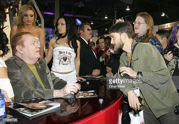 Hustler magazine publisher Larry Flynt signs autographs for fans at the Adult Video News Adult Entertainment Expo at the Sands Expo Center January 12...