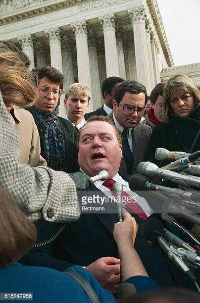 Hustler magazine publisher Larry Flynt talks to the press at the US Supreme Court 12/2 after a hearing on Jerry Falwell's suit against Hustler...