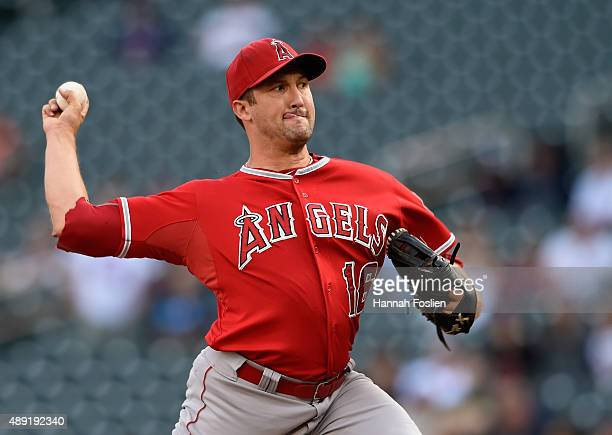 Huston Street of the Los Angeles Angels of Anaheim delivers a pitch against the Minnesota Twins during the twelfth inning in the first game of a...