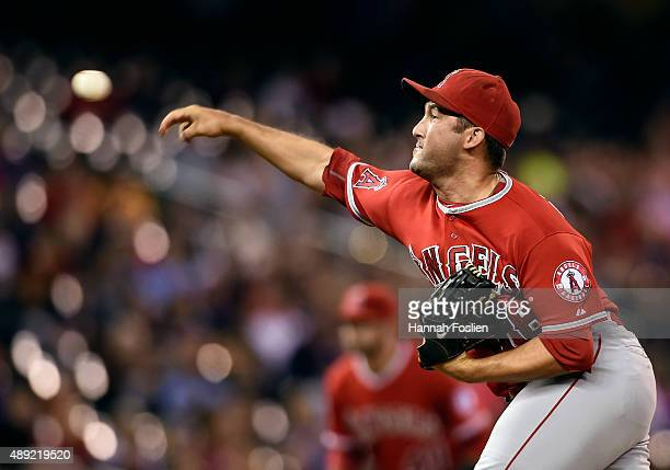 Huston Street of the Los Angeles Angels of Anaheim delivers a pitch against the Minnesota Twins during the ninth inning in the second game of a...
