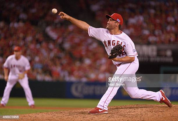 Huston Street of the Los Angeles Angels of Anaheim pitches against the Kansas City Royals during Game 2 of the American League Division Series on...