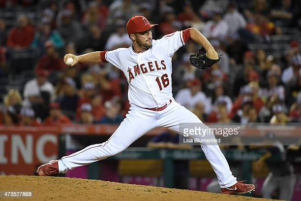 Huston Street of the Los Angeles Angels of Anaheim pitches against the Colorado Rockies at Angel Stadium of Anaheim on May 13 2015 in Anaheim...