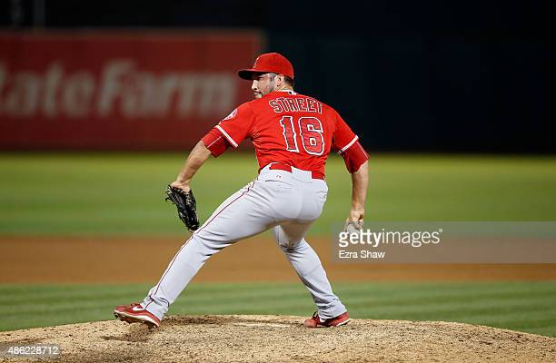 Huston Street of the Los Angeles Angels of Anaheim pitches against the Oakland Athletics at Oco Coliseum on September 1 2015 in Oakland California