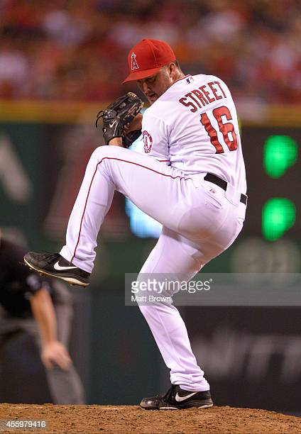 Huston Street of the Los Angeles Angels of Anaheim pitches during the game against the Houston Astros on September 13 2014 at Angel Stadium of...