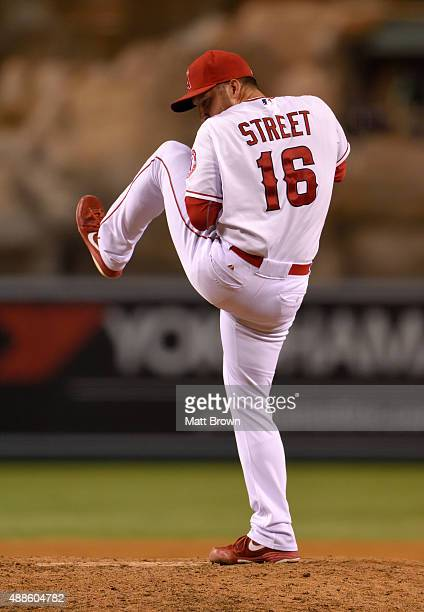 Huston Street of the Los Angeles Angels of Anaheim pitches during the ninth inning of the game against the Houston Astros at Angel Stadium of Anaheim...