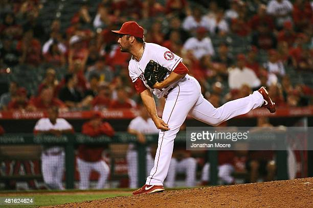 Huston Street of the Los Angeles Angels of Anaheim pitches to the Minnesota Twins in the ninth inning during a game at Angel Stadium of Anaheim on...