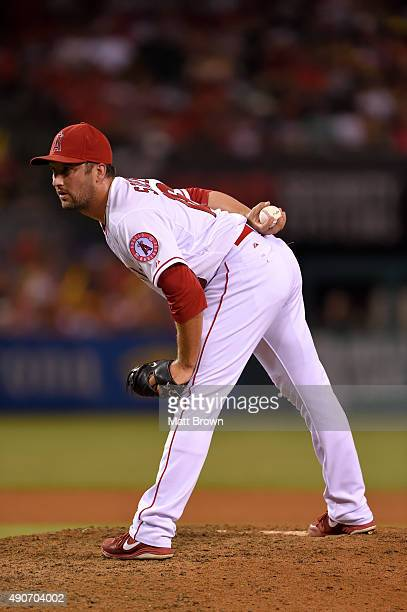 Huston Street of the Los Angeles Angels of Anaheim prepares to pitch during the ninth inning of the game against the Seattle Mariners at Angel...