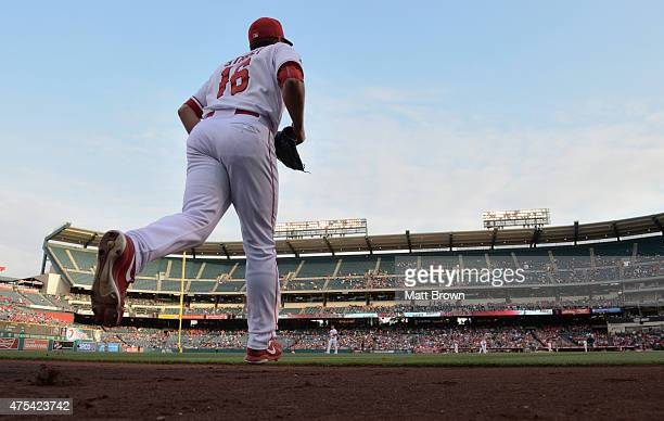 Huston Street of the Los Angeles Angels of Anaheim takes the field during the game against the Oakland Athletics at Angel Stadium of Anaheim on April...