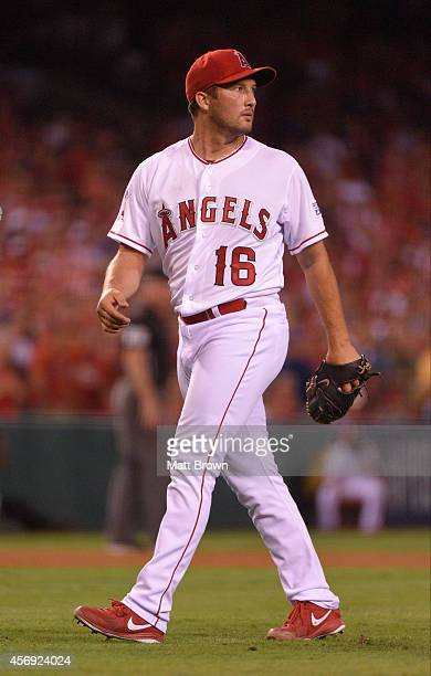 Huston Street of the Los Angeles Angels of Anaheim walks towards the dugout against the Kansas City Royals during Game 2 of the American League...