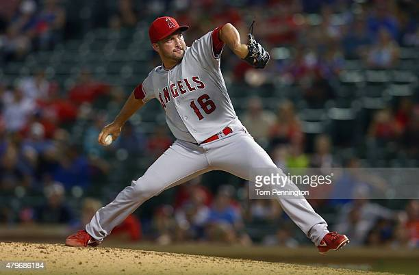 Huston Street of the Los Angeles Angels pitches against the Texas Rangers in the bottom of the ninth inning at Globe Life Park in Arlington on July 5...