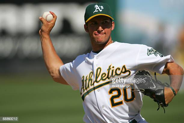 Huston Street of the Oakland Athletics pitches during the game against the Minnesota Twins at McAfee Coliseum on August 13 2005 in Oakland California...