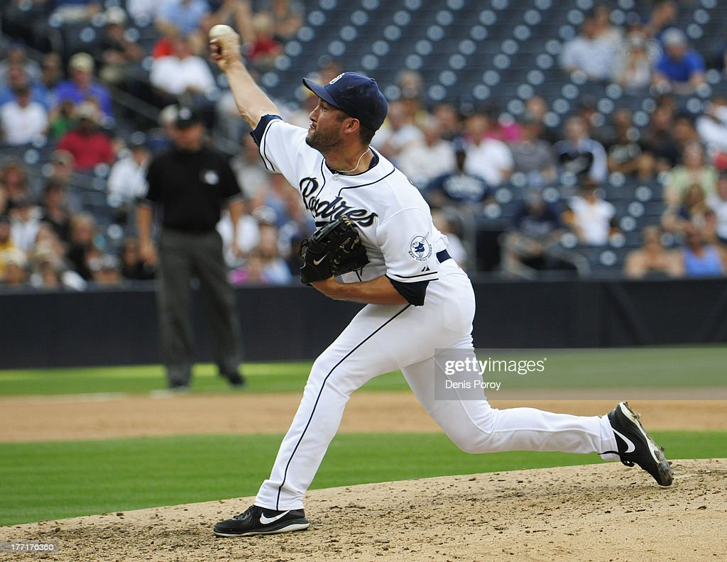 <a gi-track='captionPersonalityLinkClicked' href=/galleries/search?phrase=Huston+Street&family=editorial&specificpeople=212959 ng-click='$event.stopPropagation()'>Huston Street</a> #16 of the San Diego Padres pitches during the ninth inning of a baseball game against the Pittsburgh Pirates at Petco Park on August 21, 2013 in San Diego, California.
