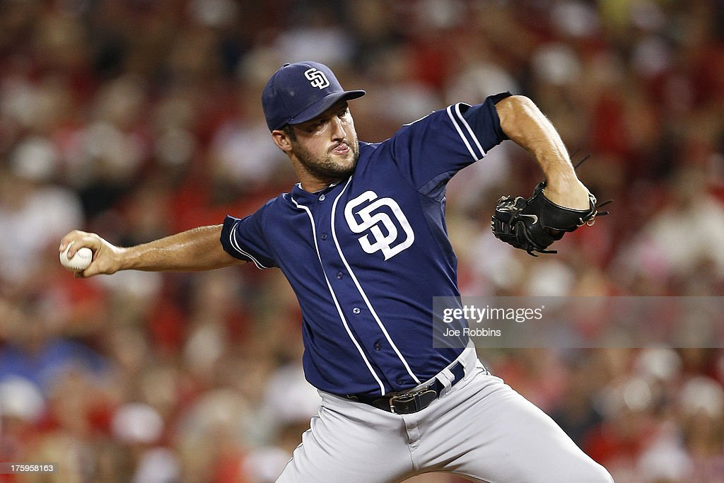 <a gi-track='captionPersonalityLinkClicked' href=/galleries/search?phrase=Huston+Street&family=editorial&specificpeople=212959 ng-click='$event.stopPropagation()'>Huston Street</a> #16 of the San Diego Padres pitches in the ninth inning against the Cincinnati Reds at Great American Ball Park on August 10, 2013 in Cincinnati, Ohio. The Padres defeated the Reds 3-1.