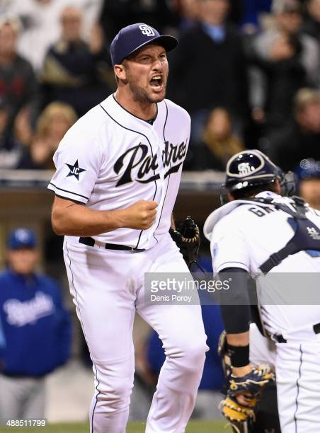 Huston Street of the San Diego Padres reacts after the Padres turned a double play during the ninth inning of a baseball game against the Kansas City...
