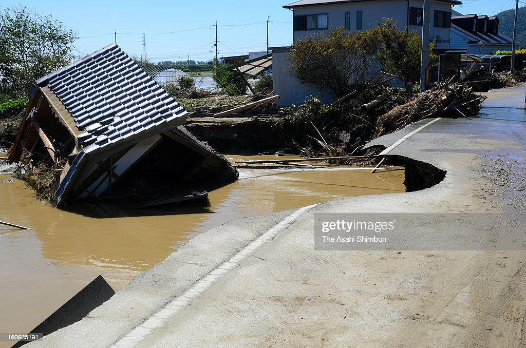 A hut is washed away a day after heavt rain hit Japan triggered by typhoon Man-Yi on September 17, 2013 in Takashima, Shiga, Japan. The storm hit land near Toyohashi, Aichi Prefecture, before 8 a.m. and moved along Honshu throughout the day, damaging buildings, disrupting transportation and causing blackouts, three killed and five missing.
